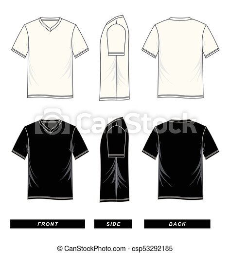 83763f03a1bc T-shirt template v neck, short sleeve, black and white, vector image.