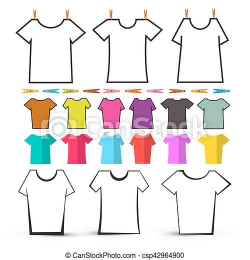 T Shirt Template Vector Empty T Shirts Set With Pegs Isolated On