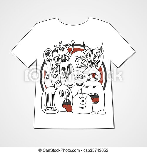 T-shirt with abstract set of monsters. - csp35743852