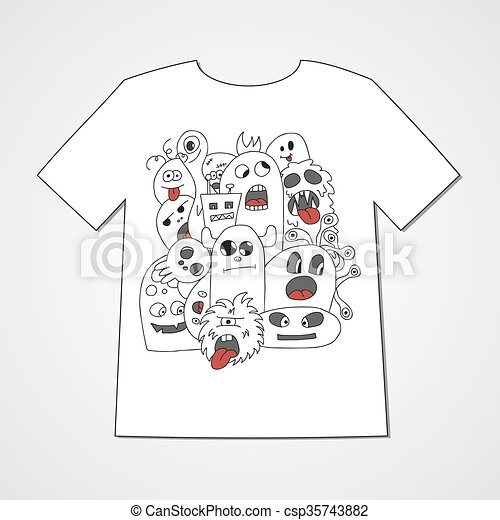 T-shirt with abstract set of monsters. - csp35743882