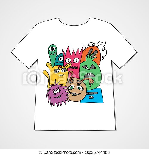 T-shirt with abstract set of monsters. - csp35744488