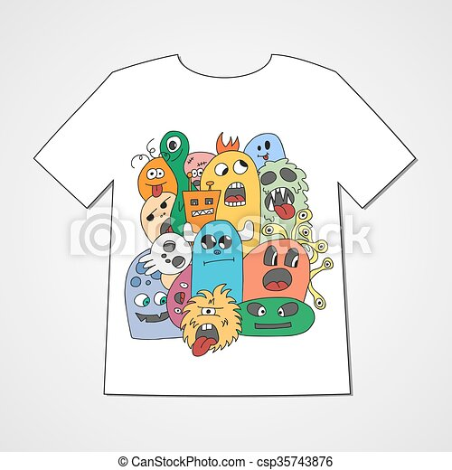 T-shirt with abstract set of monsters. - csp35743876