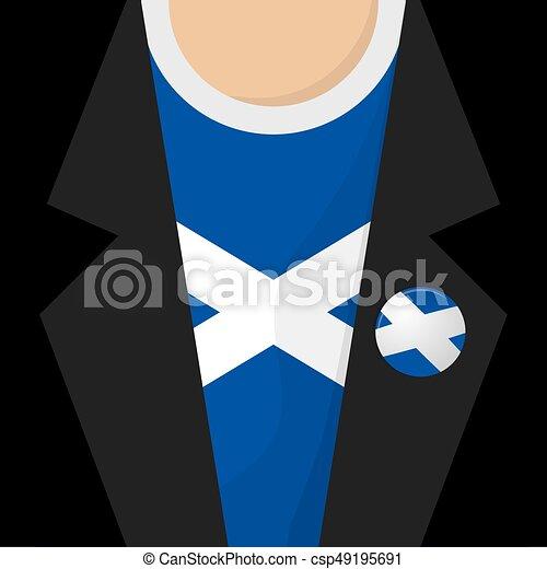 T-Shirt With Scotland Flag Vector Illustration - csp49195691