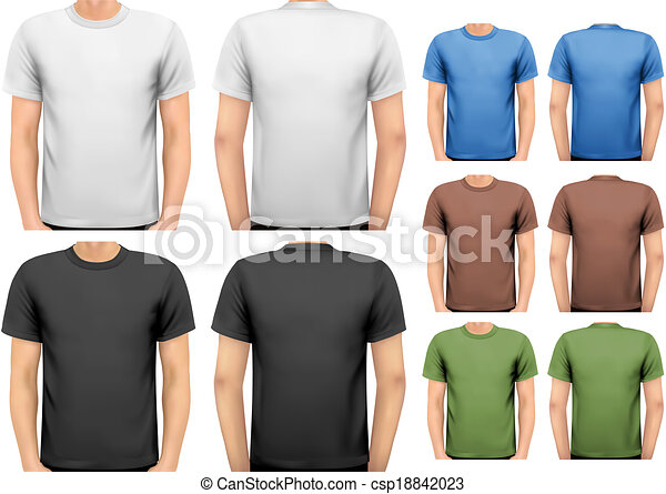 t-shirts., 色, 男性, デザイン, vector., 黒, 白, template. - csp18842023