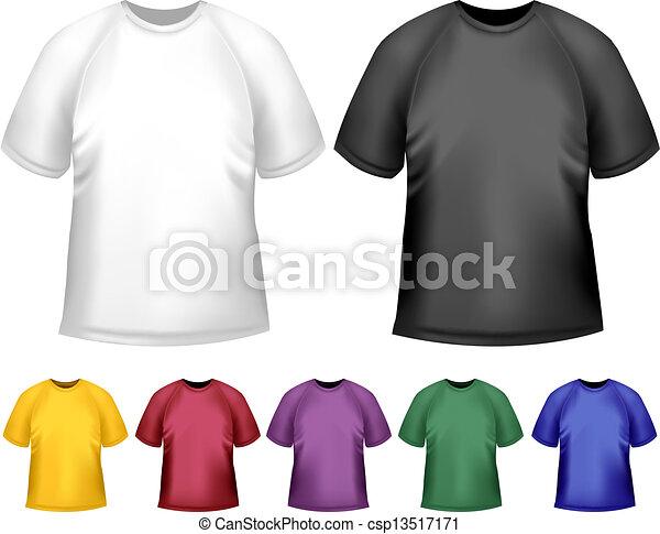 t-shirts., 色, 男性, ベクトル, 黒, ポロ, デザイン, 白, template. - csp13517171