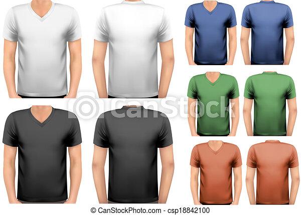 t-shirts., cor, homens, desenho, vector., pretas, branca, template. - csp18842100