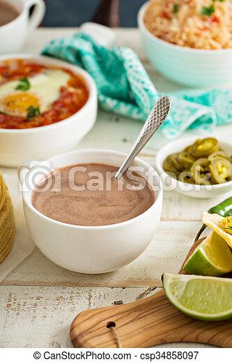 tabela, quentes, mexicano, pequeno almoço, chocolate - csp34858097