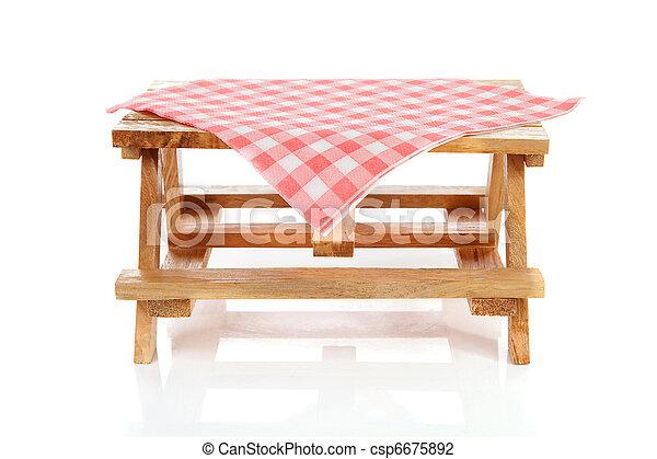 tabela, toalha de mesa, piquenique, vazio - csp6675892