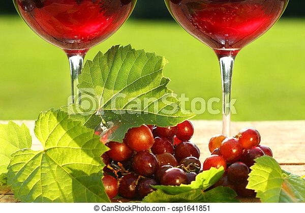 tabela, vinho, vermelho, óculos - csp1641851