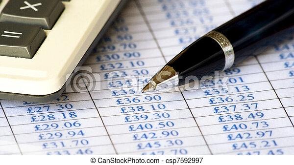 tabelle, stift, preis, taschenrechner, & - csp7592997