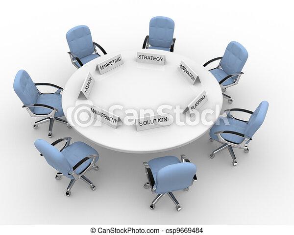 La mesa de conferencias - csp9669484