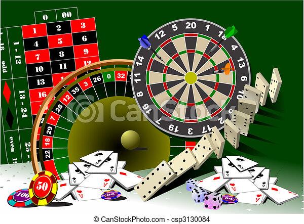Mesa de ruta y elementos del casino - csp3130084