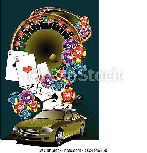 Mesa de ruta y elementos del casino. - csp4149459