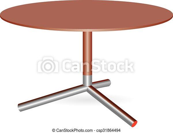 Mesa de madera con una pierna central - csp31864494