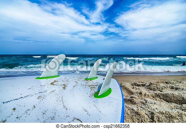 Surfboard y aletas esperando entrar en el agua del océano - csp21662358