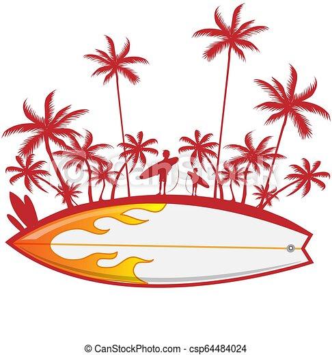 Surfboard con palmera en blanco. Ilustración de vectores - csp64484024