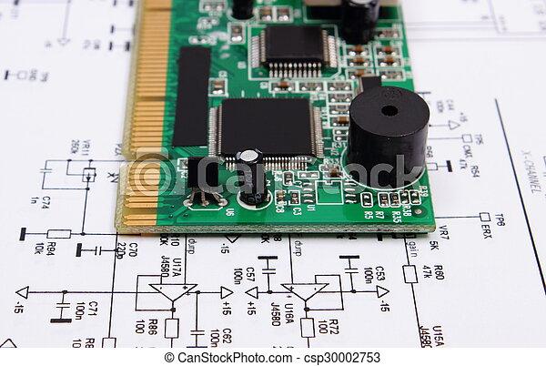 La placa de circuitos está en el diagrama de electrónica, tecnología - csp30002753