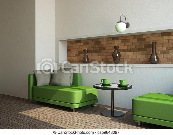 Dos sofás y mesa - csp9643097