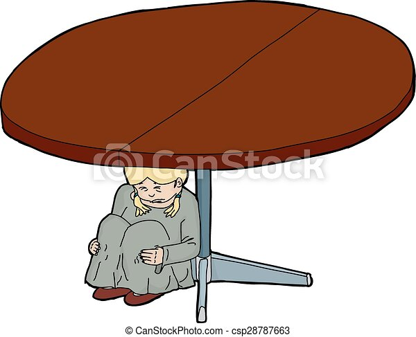 Caricatura de chica asustada debajo de la mesa - csp28787663