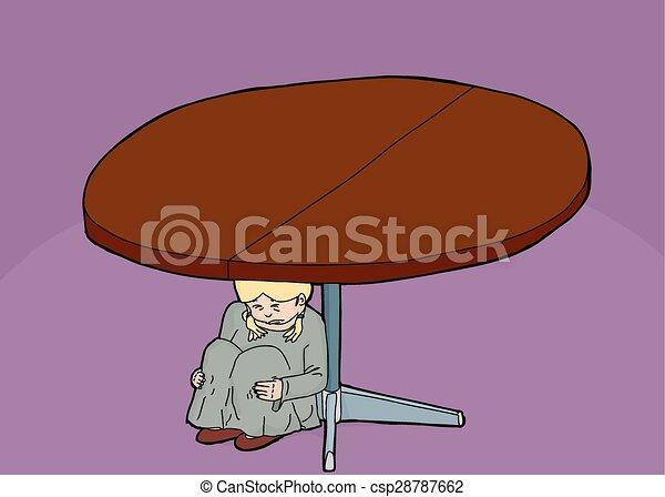 Chica asustada debajo de la mesa - csp28787662