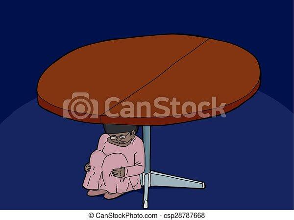 Chica asustada escondida debajo de la mesa - csp28787668