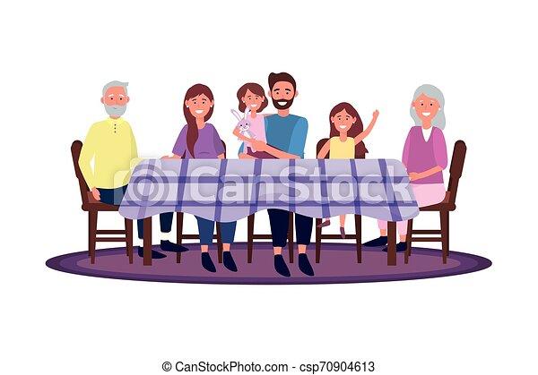 Familia en la mesa - csp70904613