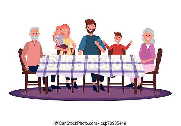 Familia en la mesa - csp70935449