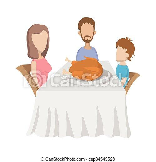 Familia en la mesa - csp34543528
