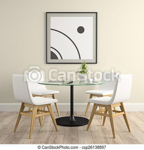 Parte del interior con sillas y mesa 3D - csp26138897
