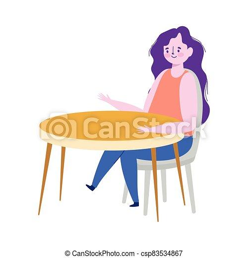 tabla, mujer, diseño, sentado, restaurante, aislado, distancia, retener - csp83534867