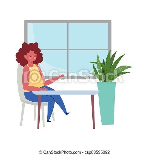 tabla, mujer, diseño, sentado, restaurante, aislado, distancia, retener - csp83535092