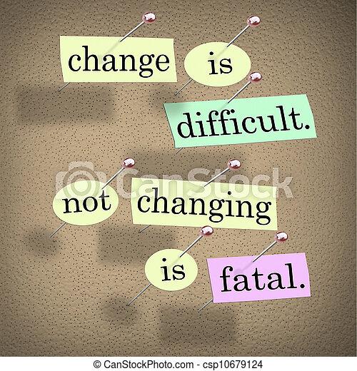 tabla, palabras, no, cambiar, fatal, boletín, cambio, difícil - csp10679124