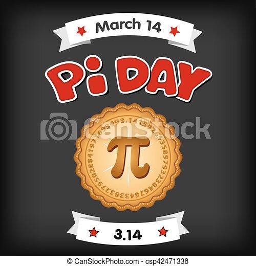 Día de Pi, 14 de marzo, pizarra - csp42471338