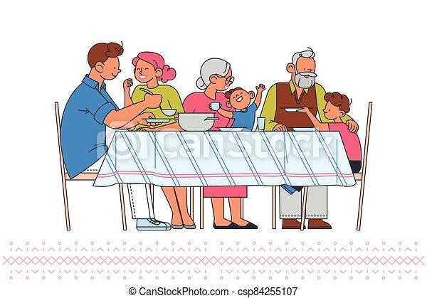 tabla, portrait., familia  - csp84255107