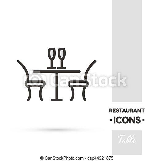 Coleccion de iconos de restaurante de mesa - csp44321875
