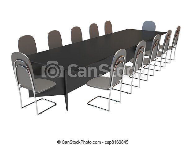 Stock Illustrations Of Table And Chairs Long Table And Ten - Conference room table and chairs clip art