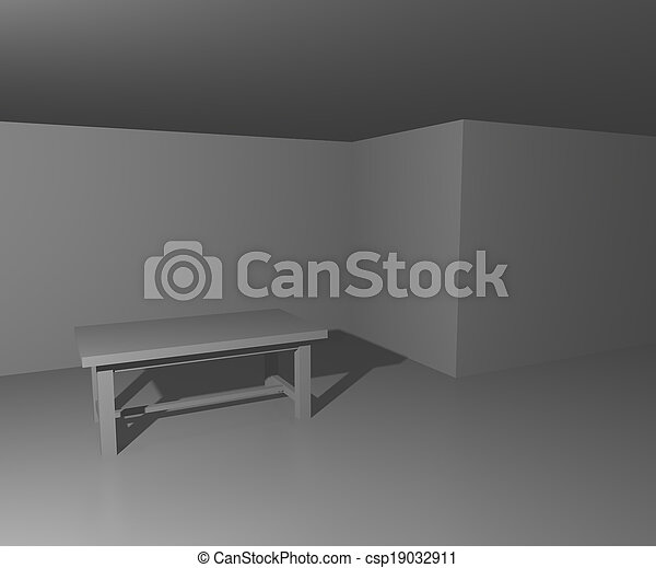 table, blanche salle, fond - csp19032911