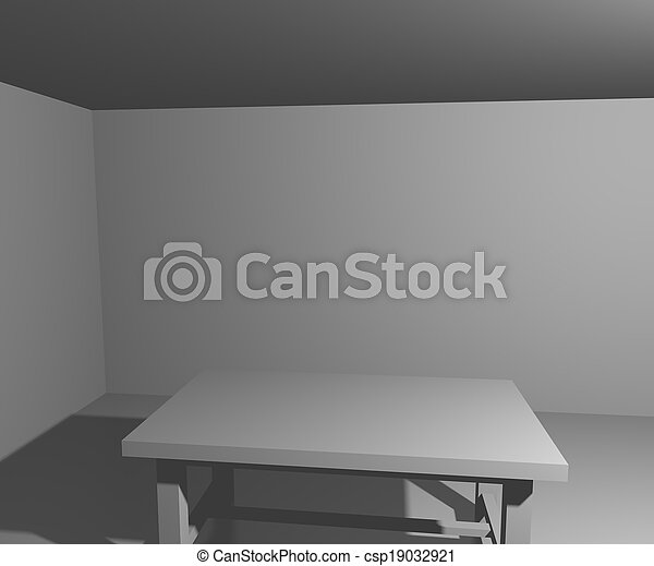 table, blanche salle, fond - csp19032921