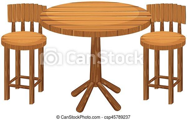 Table Bois Rond Chaises