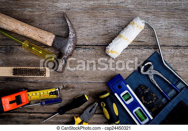 table bois, vieux, outils - csp24450321