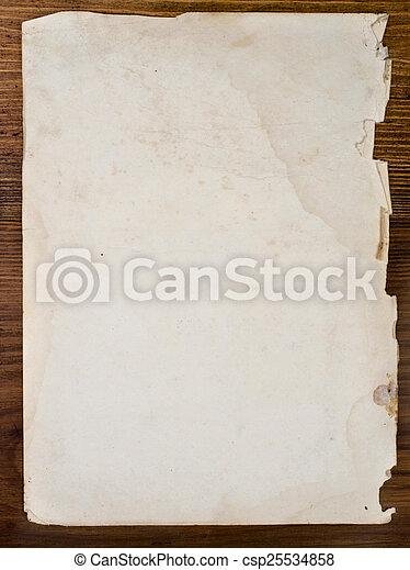 table bois, vieux, papiers - csp25534858