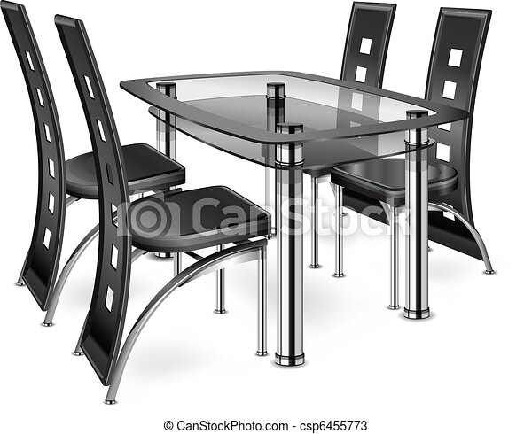 Modern Furniture Drawings vectors of table & chairs - modern chairs isolated on white