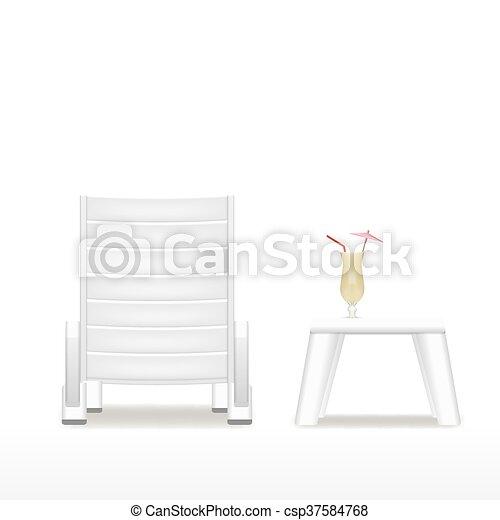 Table Chaise Longue Cocktail Eps10 Cocktail Isole Vecteur