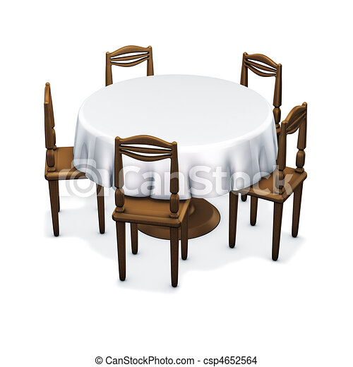 Table Classic Circle 3d Rendering Simple Dining