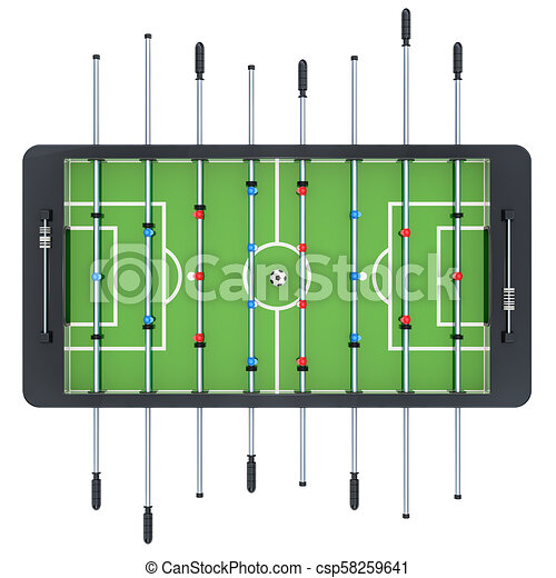 Table Football Top View 3d Rendering Isolated On White Background