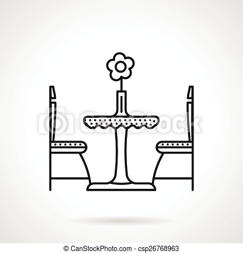 Table for two black line icon. Black flat line vector icon ...