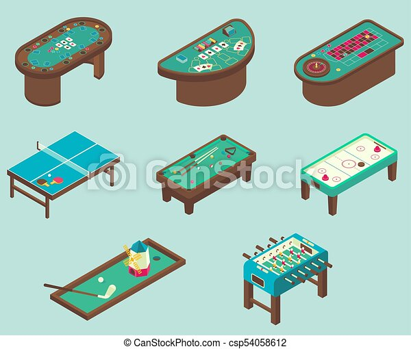 Table game vector flat isometric icon set. Table game icon... vector ...