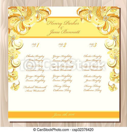 Table Guest List Vector Background Peacock Feathers Wedding Design Template