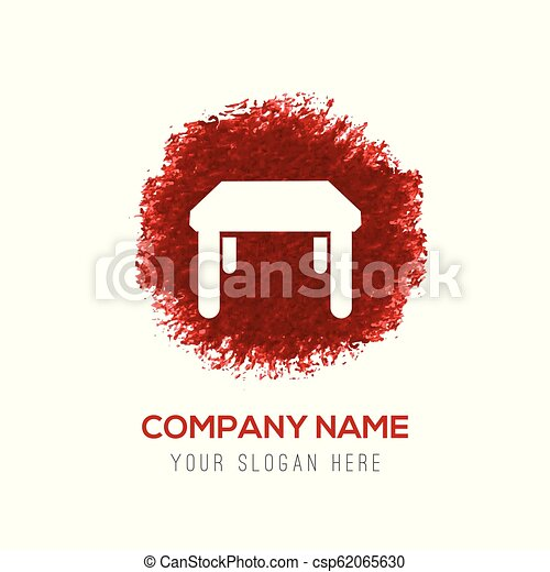 Table Icon - Red Water Color Circle Splash - csp62065630