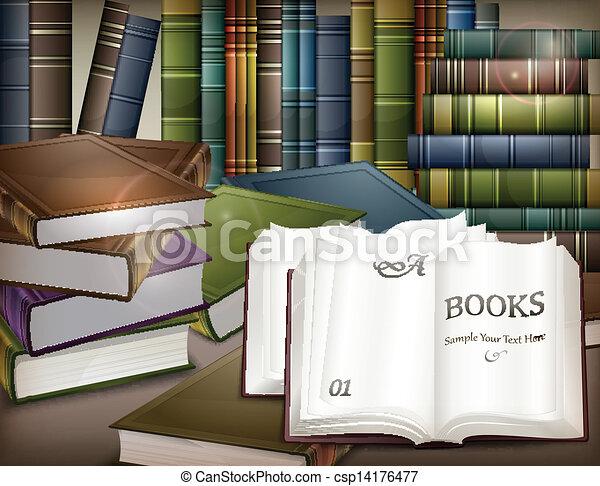 table, livre, piles - csp14176477